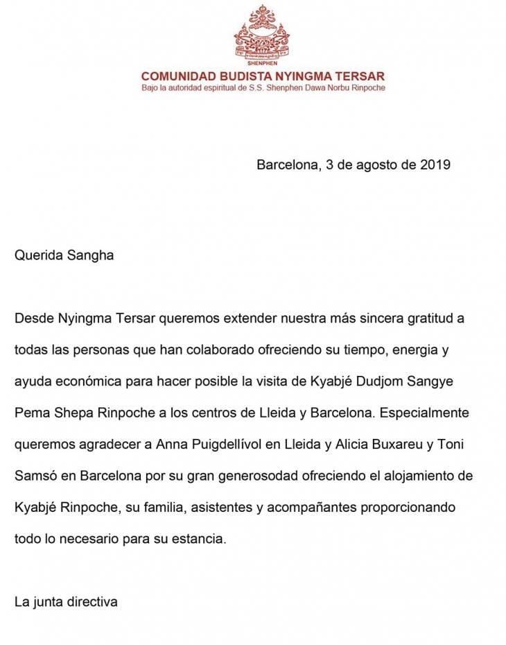 Carta de agradecimiento visita Kyabje Dudjom Riimpoché