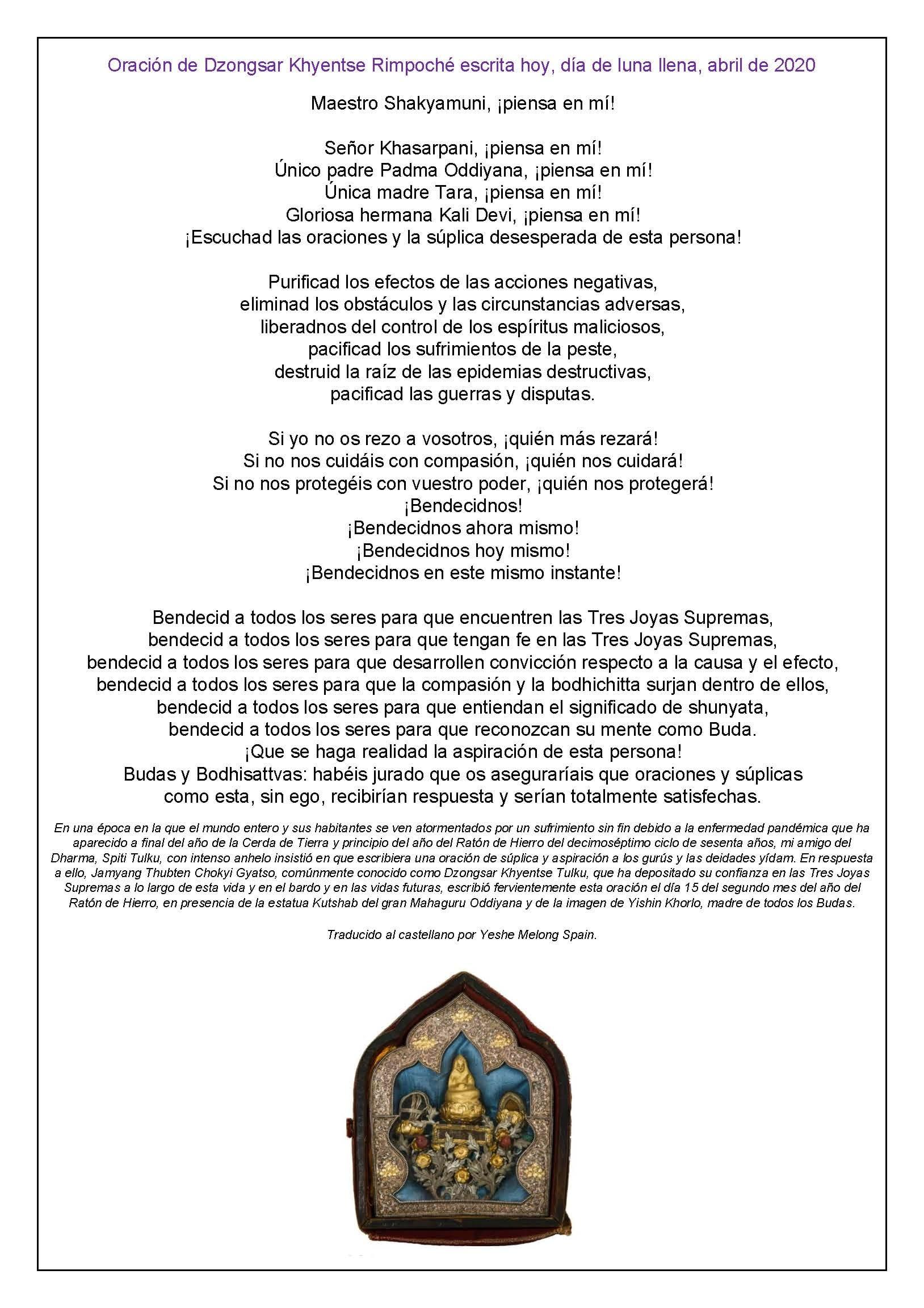 Oracion pandemia Dzongsar Khyentse Rimpoche