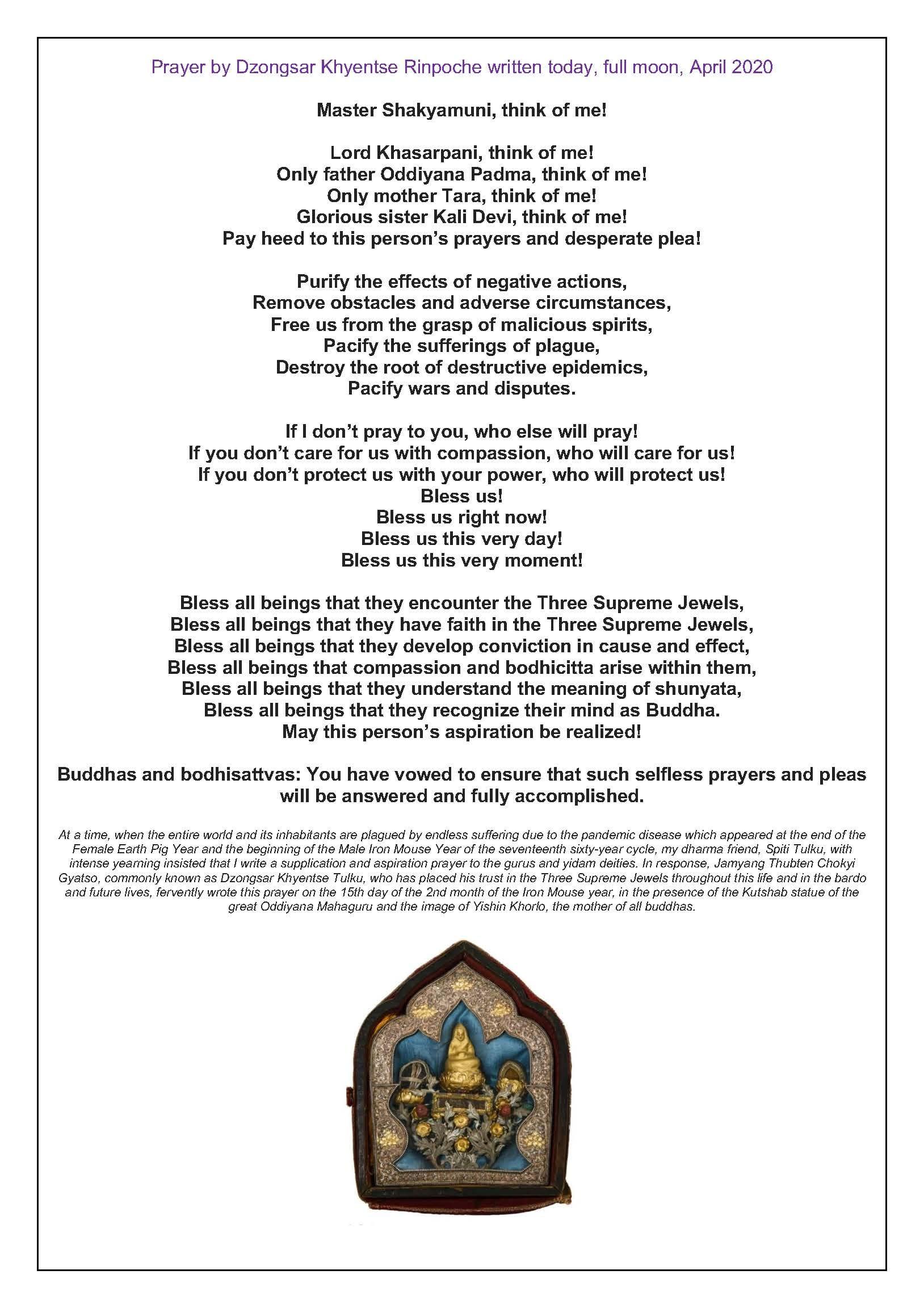 Oración de Kyabjé Dzongsar Jamyang Khyentse Rimpoché